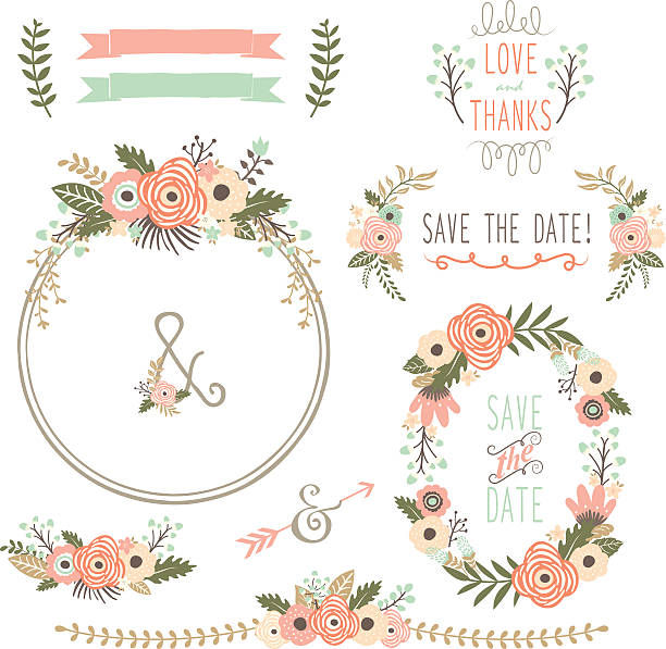 Rustic Wedding Flower Wreath Illustration Vector Art