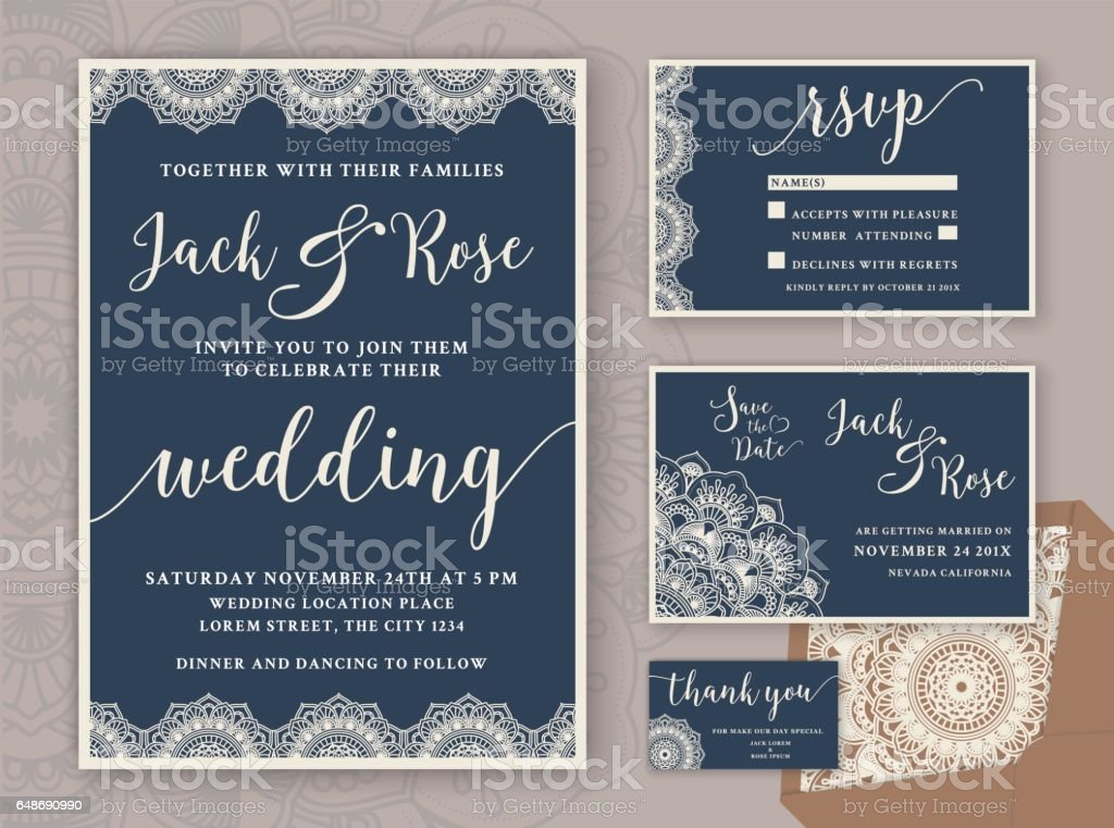 Rustic Wedding Invitation Design Template vector art illustration