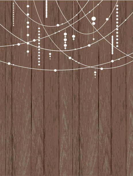rustic wooden background with beads and strings - light strings stock illustrations, clip art, cartoons, & icons
