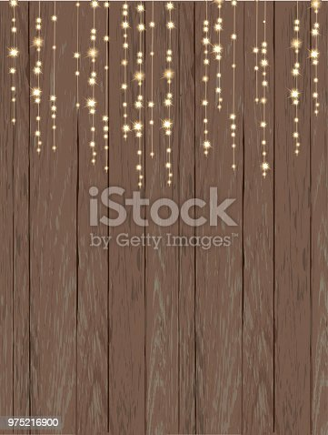 Rustic Wooden Background With String Lights Stock Vector Art More Images Of Abstract 975216900