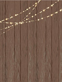 Vector illustration of aRustic wooden background with string lights. Easy to edit.