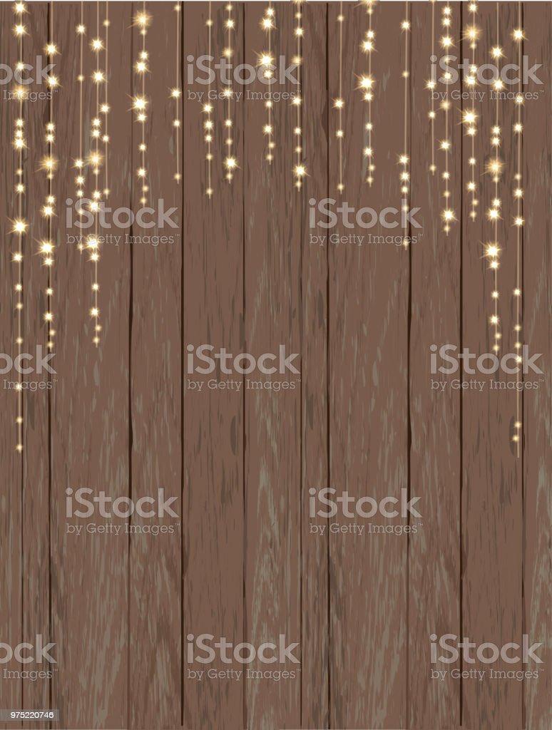 Rustikale Holz Hintergrund Mit Lichterkette Lizenzfreies Rustikale Holz  Hintergrund Mit Lichterkette Stock Vektor Art Und Mehr