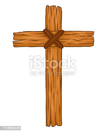 Simple traditional wooden christian cross, vector illustration isolated on white background