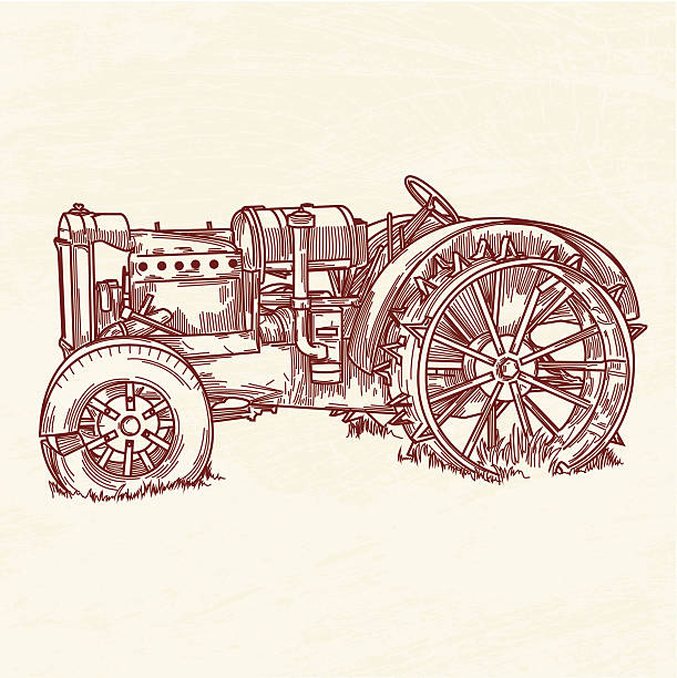 Rusty Old Tractor vector art illustration