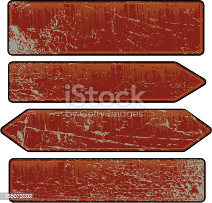 Collection of four vector illustrated rusty signs. Files included AI* eps and large .jpg.
