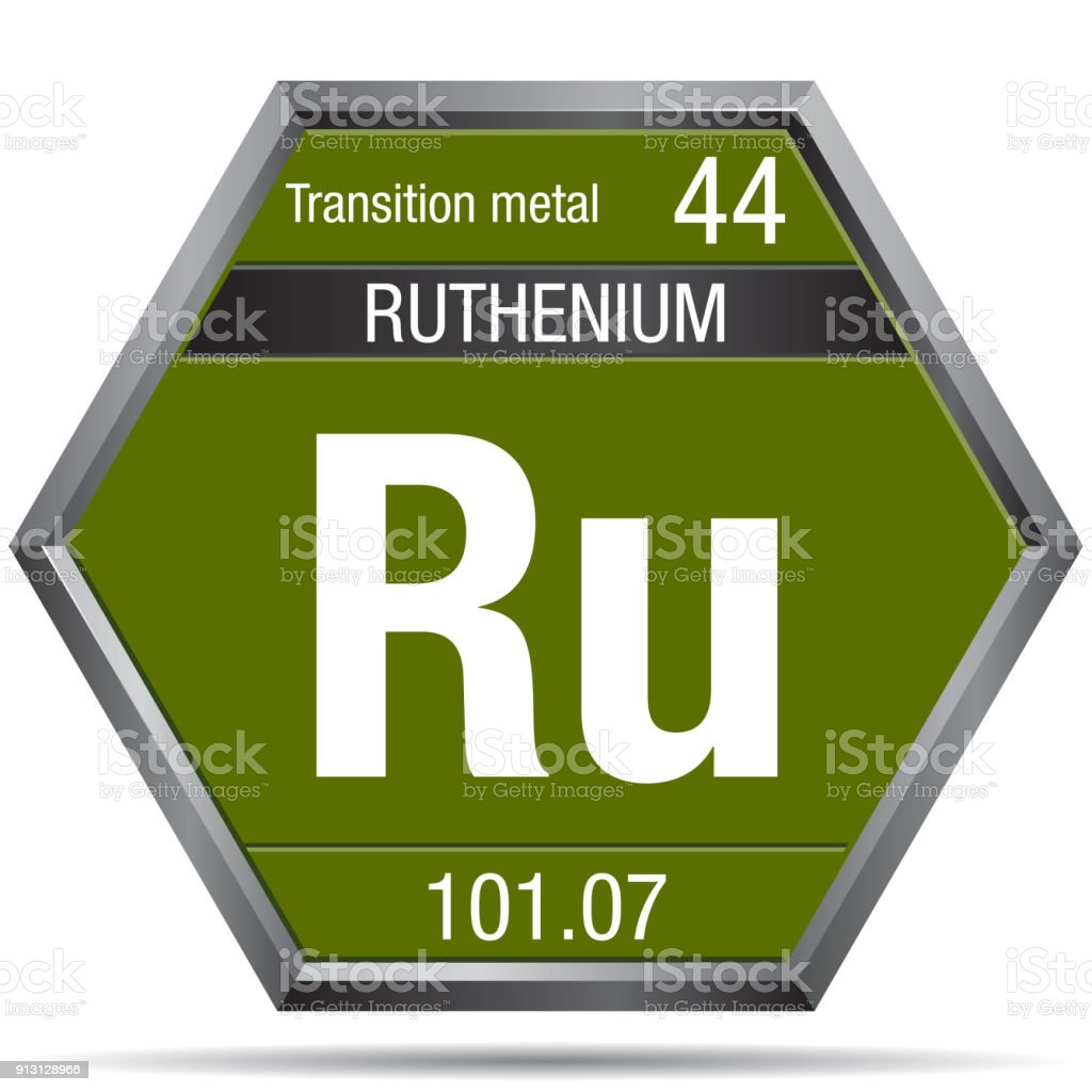 Ruthenium Symbol In The Form Of A Hexagon With A Metallic Frame
