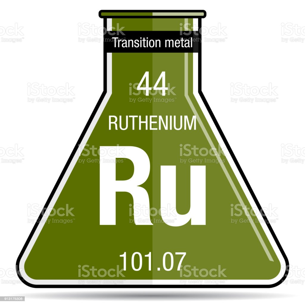 Ruthenium Symbol On Chemical Flask Element Number 44 Of The Periodic