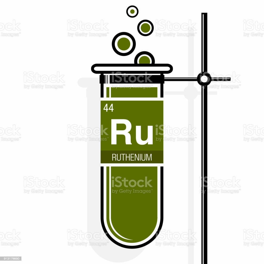 Ruthenium Symbol On Label In A Green Test Tube With Holder Element