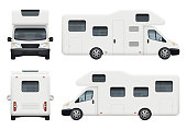 istock Rv camper. Realistic family camping trailer for travelling and have a rest car back top and front sides view vector set 1202680902