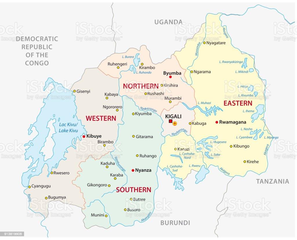 Carte Afrique Rwanda.Carte Administrative Et Politique De Rwanda Vecteurs Libres