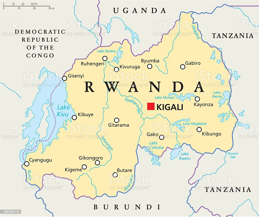 Rwanda Political Map vector art illustration