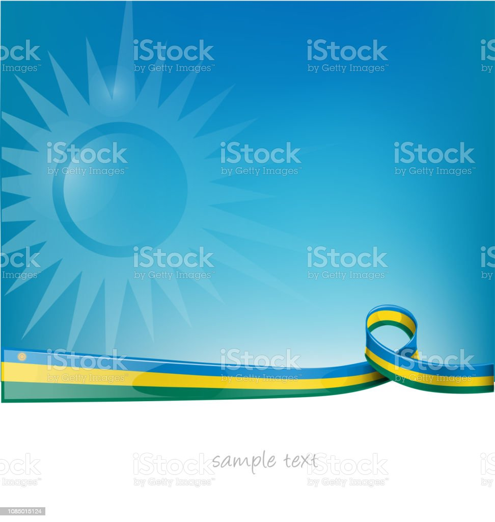 rwanda ribbon flag on blue sky background vector art illustration
