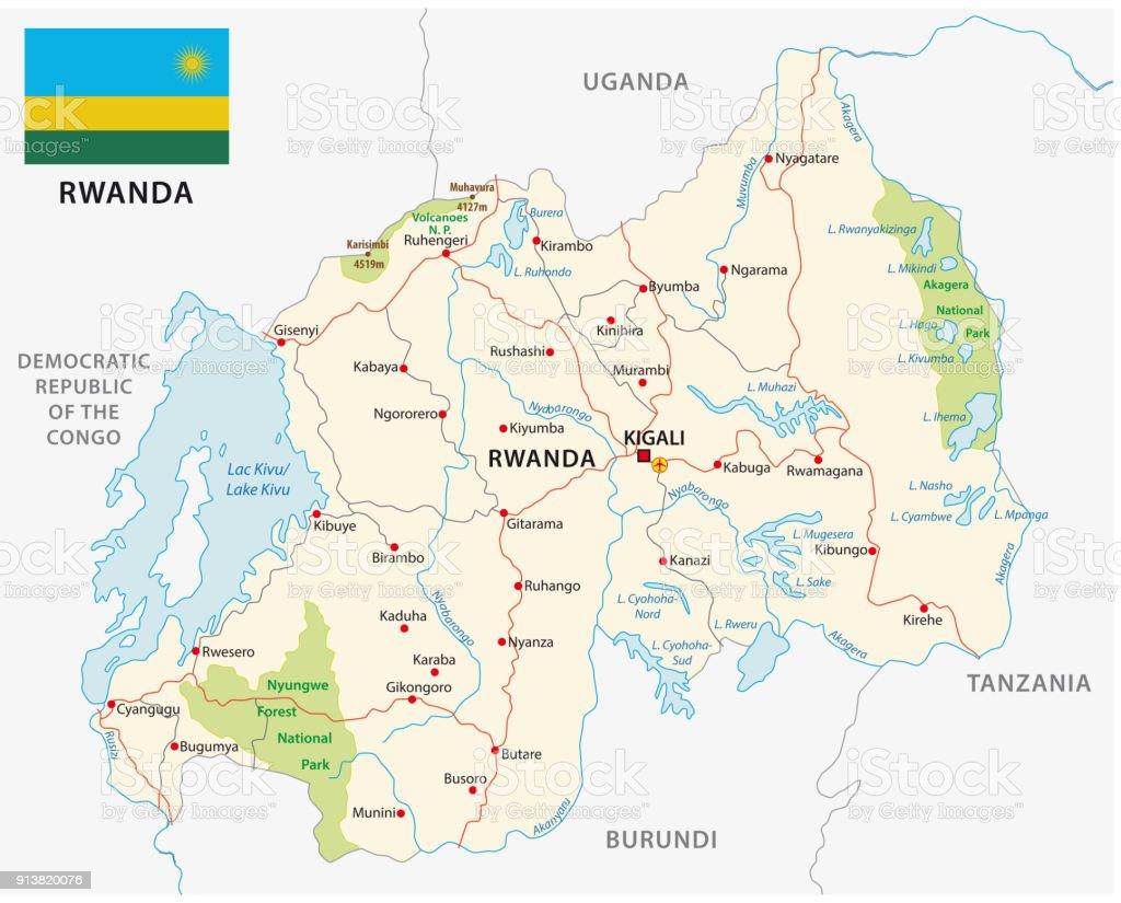 Mapa de carretera y el parque nacional de rwanda con la bandera mapa de carretera y el parque nacional de rwanda con la bandera mapa de carretera y gumiabroncs Image collections