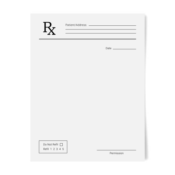illustrazioni stock, clip art, cartoni animati e icone di tendenza di rx pad template. medical regular prescription form. - prescrizione medica