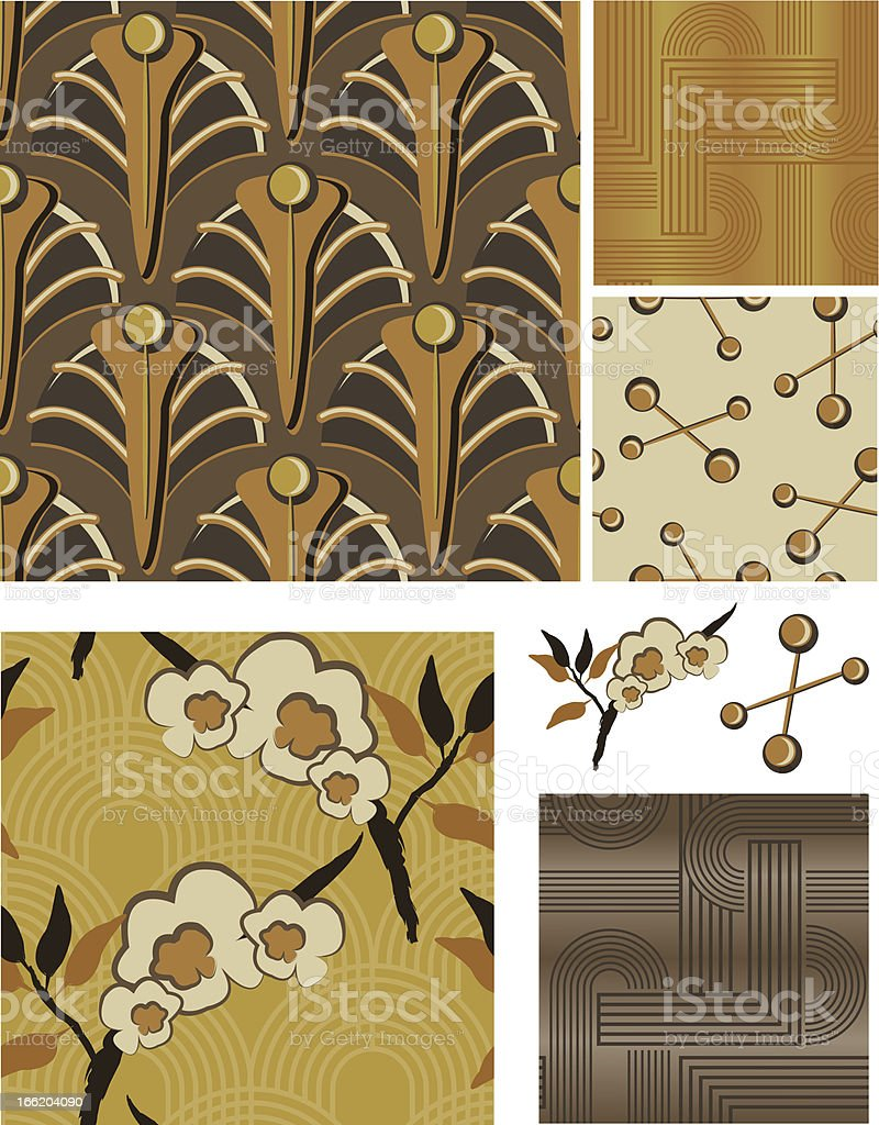 1930's Art Deco Inspired Floral Seamless Vector Patterns. royalty-free stock vector art