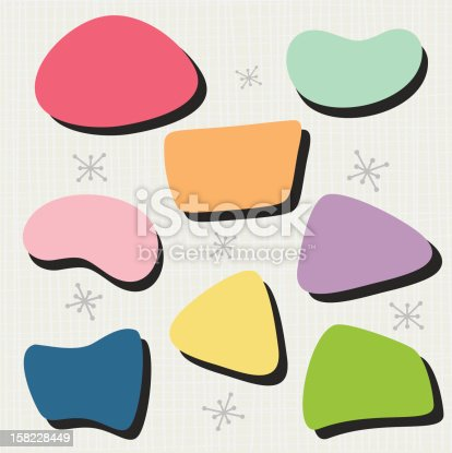 Set of 8 different 50's inspired shapes. Easy to manipulate each shape and customize colors.
