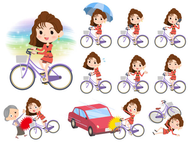 90's fashion women_city bicycle - old man on bike stock illustrations, clip art, cartoons, & icons