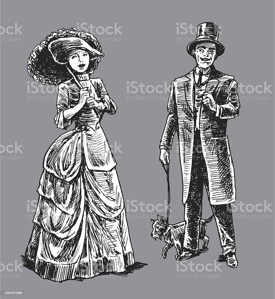 1890's High Society Couple royalty-free stock vector art