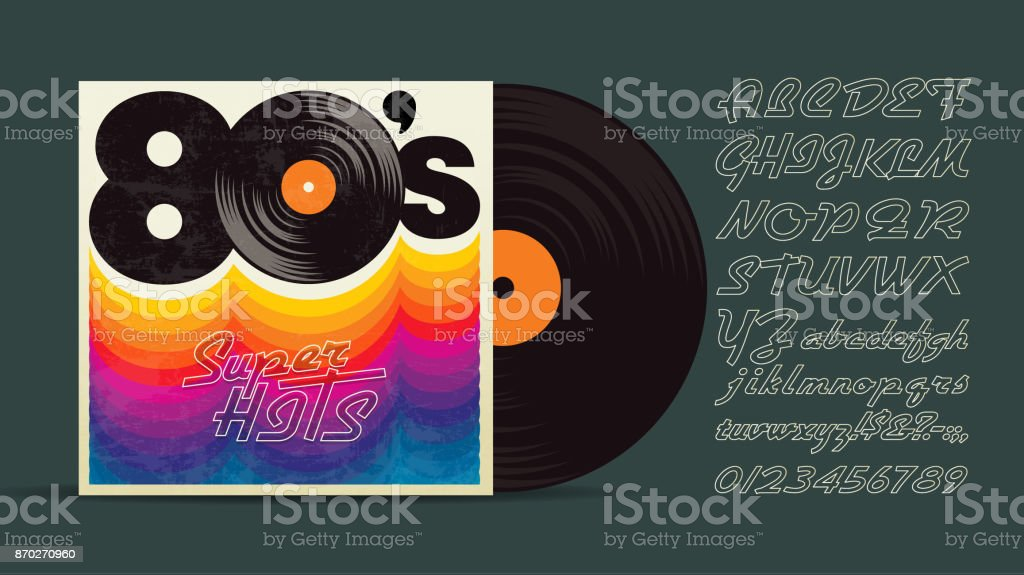 80s Music Mix Vintage Retro Font Fashion Graphic Background Style