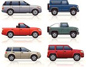 Generically styled, modern SUV's & pick up truck icons.