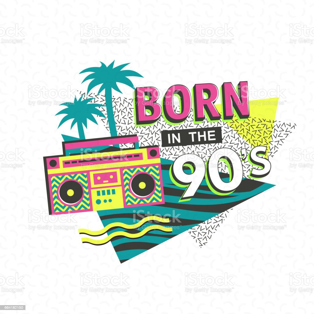 90's poster for carnival vector art illustration