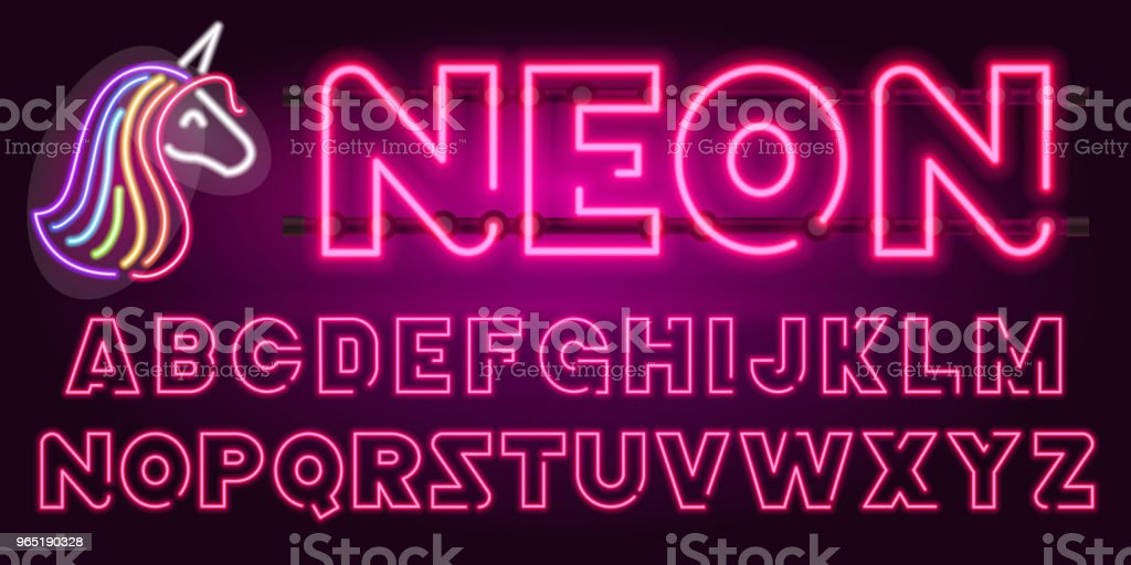 80 s purple neon retro font and unicorn. Futuristic chrome letters. Bright Alphabet on dark background. Light Symbols types. Sign for night show in club. concept of galaxy space. Outlined version 80 s purple neon retro font and unicorn futuristic chrome letters bright alphabet on dark background light symbols types sign for night show in club concept of galaxy space outlined version - stockowe grafiki wektorowe i więcej obrazów abstrakcja royalty-free