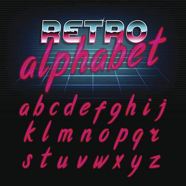 80's retro alphabet font. lowercase letters. - バブルのフォント点のイラスト素材/クリップアート素材/マンガ素材/アイコン素材