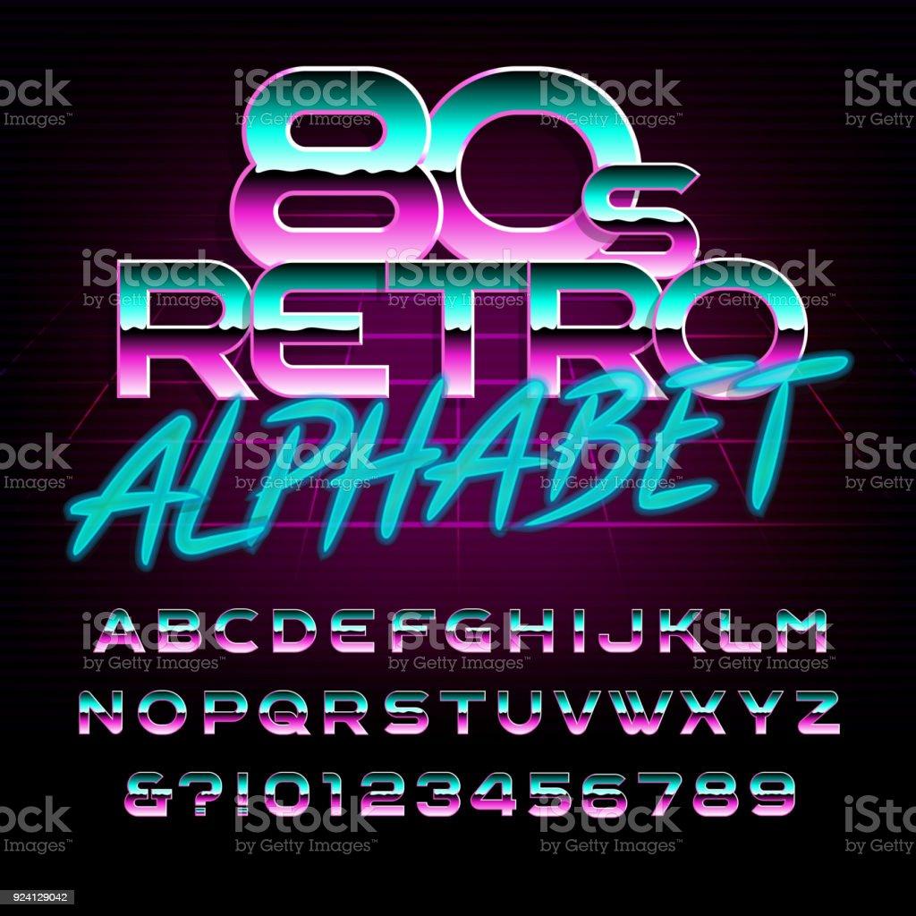 80 年代レトロなアルファベットのフォントです。金属効果の文字と数字。 ベクターアートイラスト