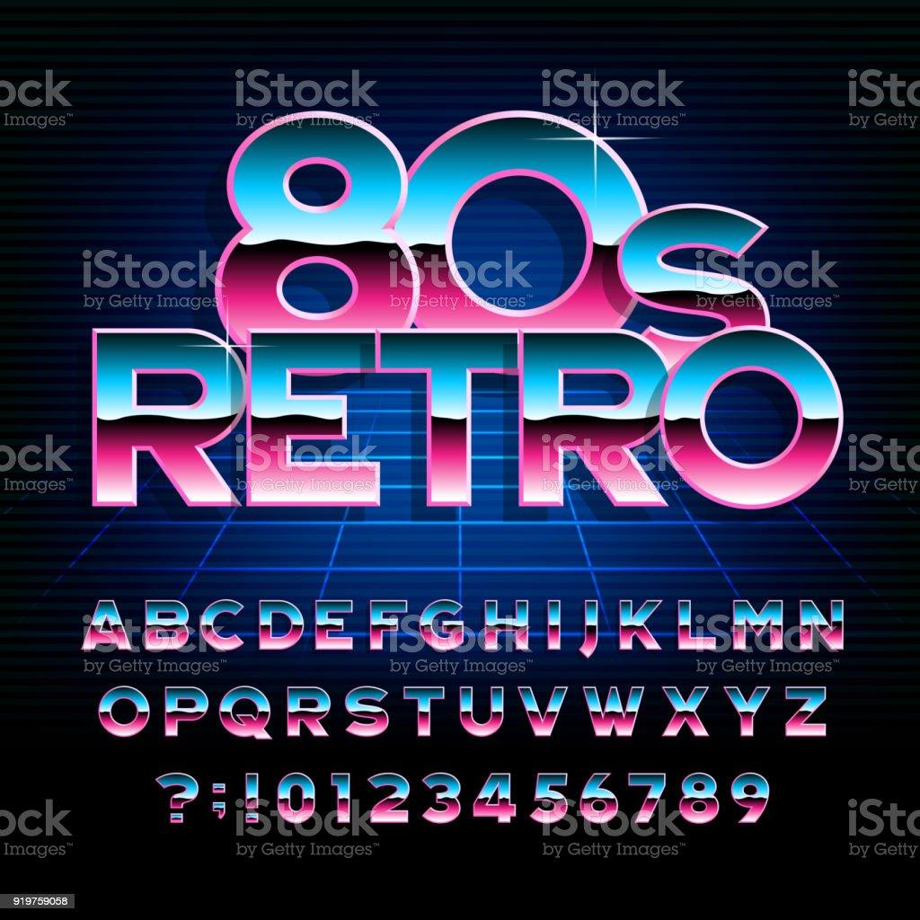 80 年代レトロなアルファベットのフォントです。メタリック効果型文字と数字。 ベクターアートイラスト