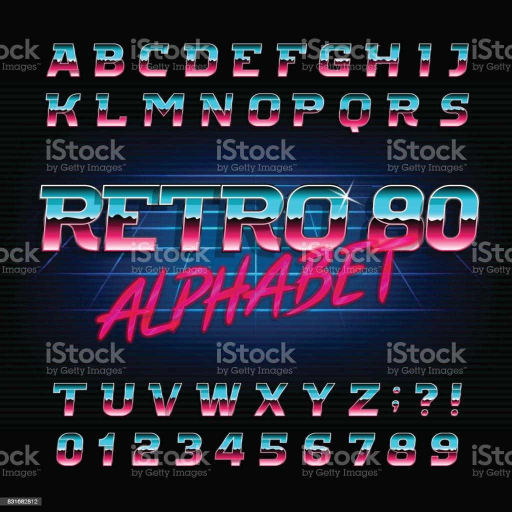 80 年代レトロなアルファベットのフォントです。斜めの文字と数字。 ベクターアートイラスト