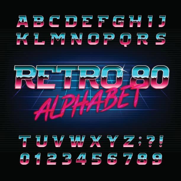 80 年代レトロなアルファベットのフォントです。斜めの文字と数字。 - バブルのフォント点のイラスト素材/クリップアート素材/マンガ素材/アイコン素材