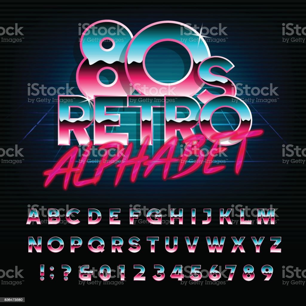 80's retro alphabet font. Type letters and numbers. vector art illustration