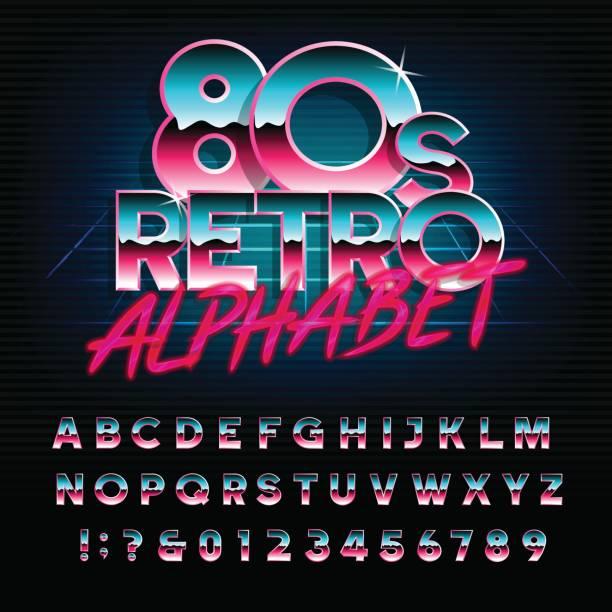 80 年代レトロなアルファベットのフォントです。文字と数字を入力します。 - バブルのフォント点のイラスト素材/クリップアート素材/マンガ素材/アイコン素材