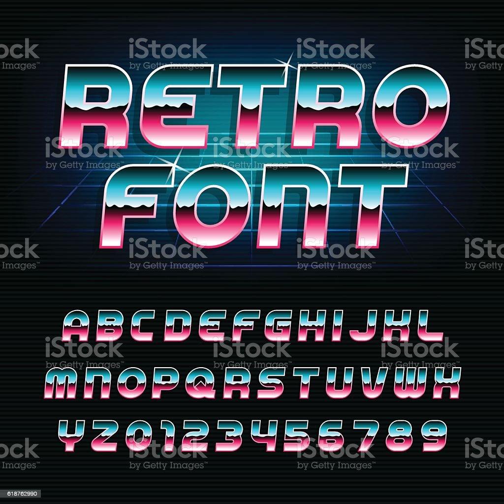 80's retro alphabet oblique font vector art illustration