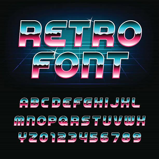 80's retro alphabet oblique font - バブルのフォント点のイラスト素材/クリップアート素材/マンガ素材/アイコン素材