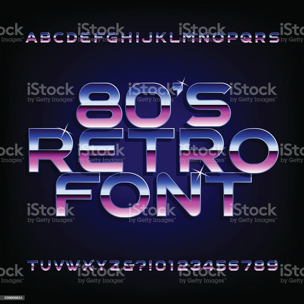 80 年代のレトロなベクトルフォントアルファベット ベクターアートイラスト