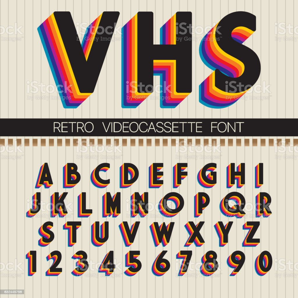 90's Retro Font vector art illustration
