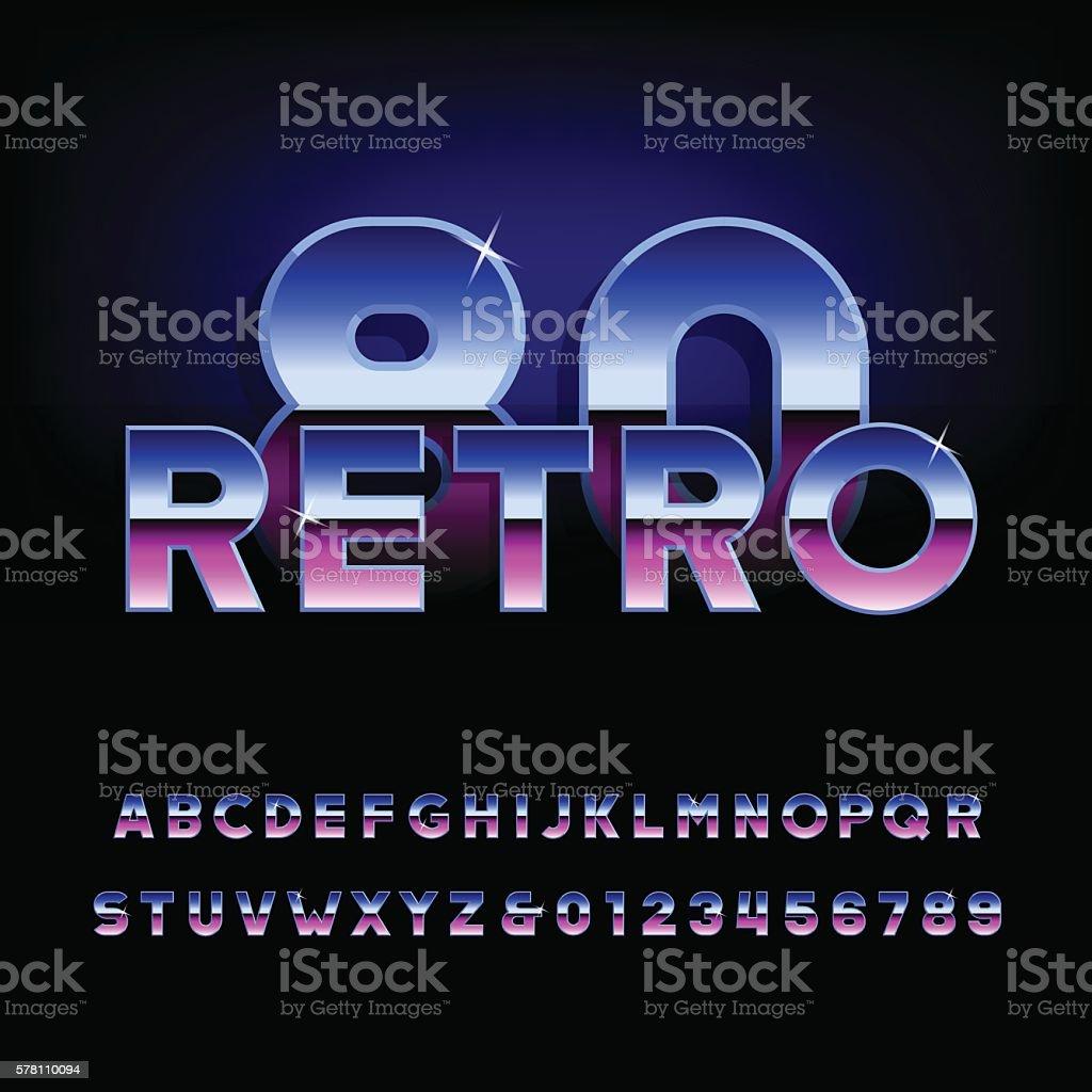 80's retro vector font ベクターアートイラスト