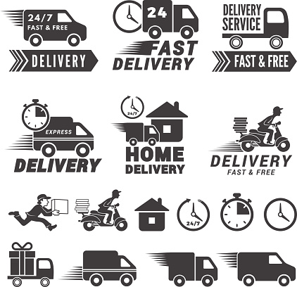 s set of fast delivery service. Vector labels isolate on white