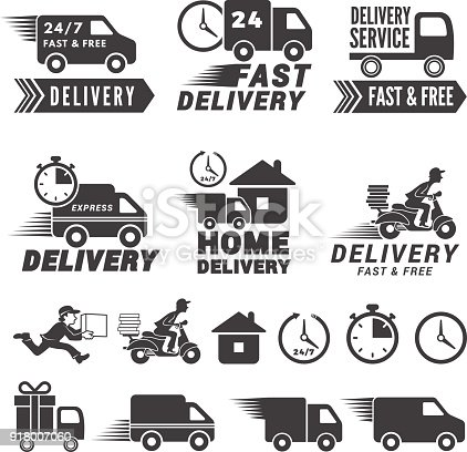 s set of fast delivery service. Vector labels isolate on white. Illustration of delivery service fast and free