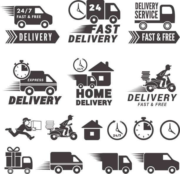 s set of fast delivery service. Vector labels isolate on white vector art illustration
