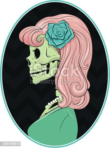 50's Skeleton Cameo retro Glam Gal