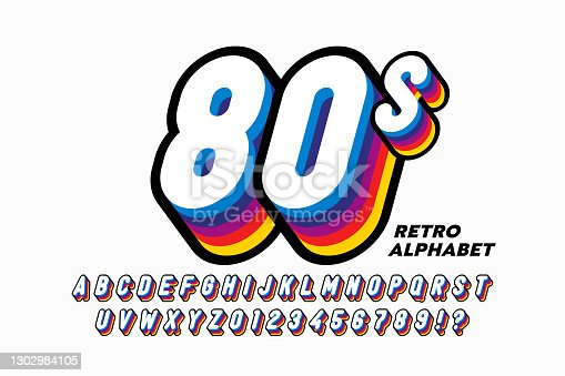 istock 80's style colorful retro 3D font 1302984105
