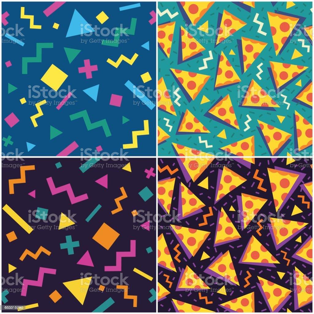 90's styled pattern vector art illustration
