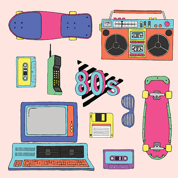 80's vector elements collection - 1980s style stock illustrations, clip art, cartoons, & icons