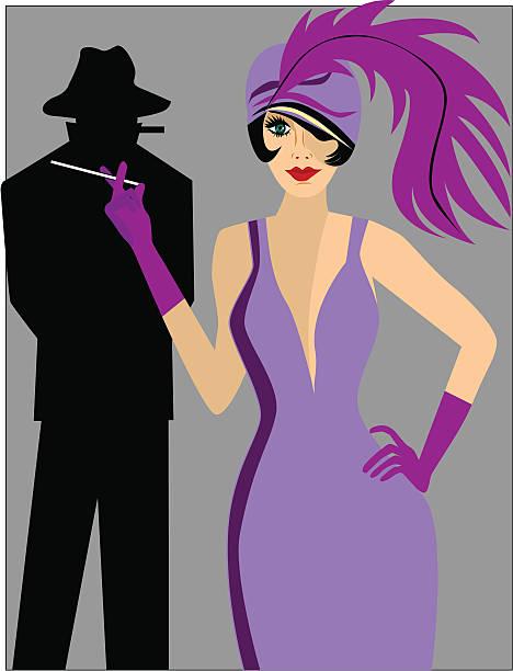 1920\\'s woman smoking - gangster stock illustrations, clip art, cartoons, & icons
