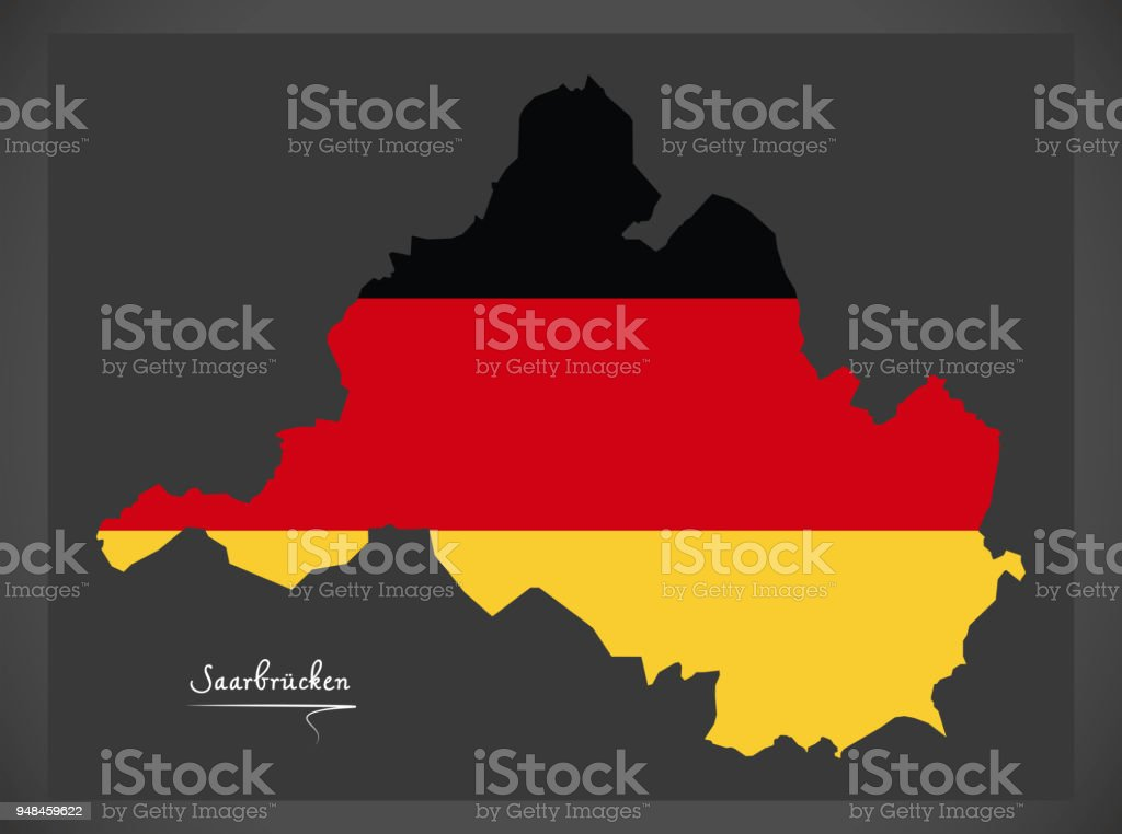 Saarbrucken map with German national flag illustration vector art illustration