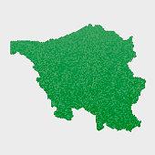 Saarland German State Map Green Hexagon Pattern