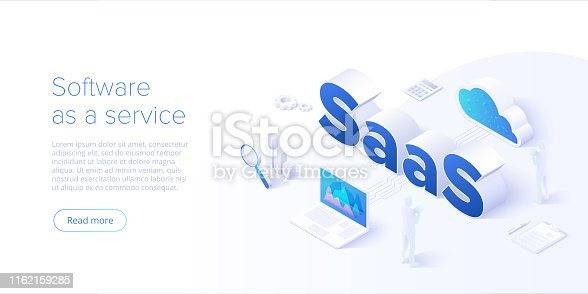Saas isometric vector illustration. Software as service or on-demand concept background design. Cloud computing segment metaphor. Website banner layout template for webpage.