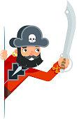 Saber sword sea dog pirate buccaneer filibuster corsair look out corner concept cartoon flat character design vector illustration